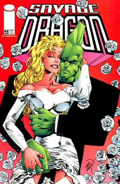 Savage Dragon 62 - White Roses - Blond Haired Woman - Green Person - Mohawk - White Dress - Erik Larsen