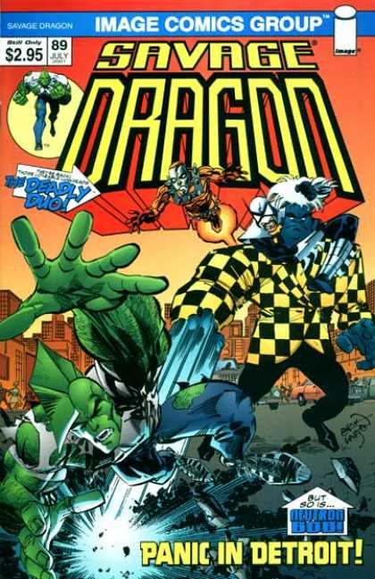 Savage Dragon 89 - Checkered Coat - Green - Panic In Detroit - 89 - White Hair - Erik Larsen
