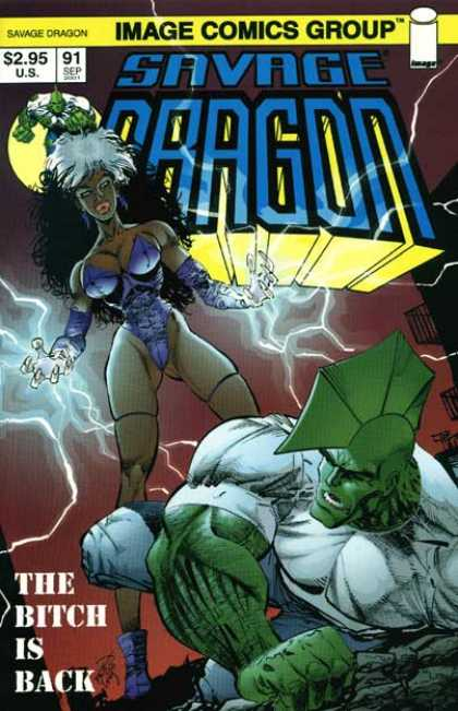 Savage Dragon 91 - Bitch Is Back - Green Creature - Spoiked Head - Purple Costume - Lighting - Erik Larsen