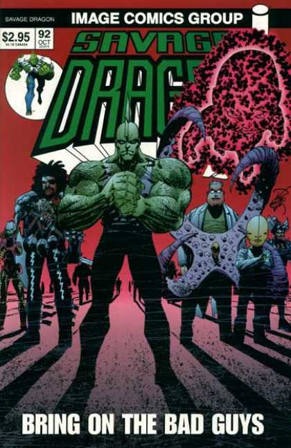 Savage Dragon 92 - Bring On The Bad Guys - Clasped Fist - Tentacles - Red Baby With Black Spots - Long Shadows - Erik Larsen