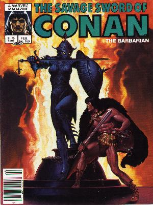 Savage Sword of Conan 109 - The Barbarian - Shield And Spear - Lady - Gallant Man - Glowing With Fire