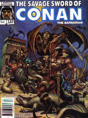 Savage Sword of Conan 123 - Flying Monsters - Slain Monsters - Winged Creatures - Fighting - Muscles - Ernie Chan