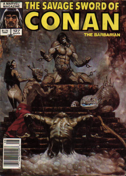 Savage Sword of Conan 127 - Throne - Power - Skull - Sexy Lady - Cave