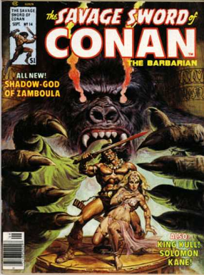Savage Sword of Conan 14 - Hero - Lady In Distress - Giant Gorilla - Long Nails - Sword