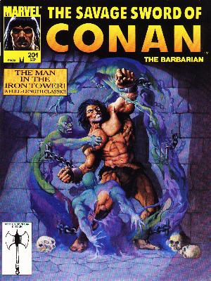 Savage Sword of Conan 201 - Man In The Iron Tower - Brick Wall - Chains - Skulls - Green Demons
