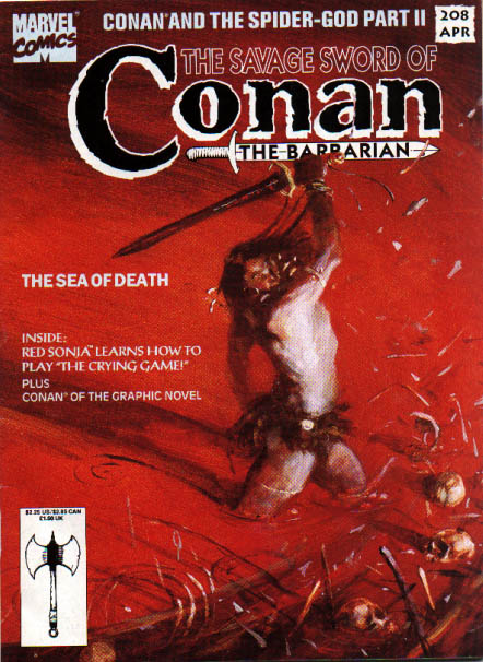 Savage Sword of Conan 208 - Circle Of Skulls - Sword Swinging Furiously - Slashing At The Scary Sea - Red Illuminated Battleground - Fast Fighter With Bones Flying