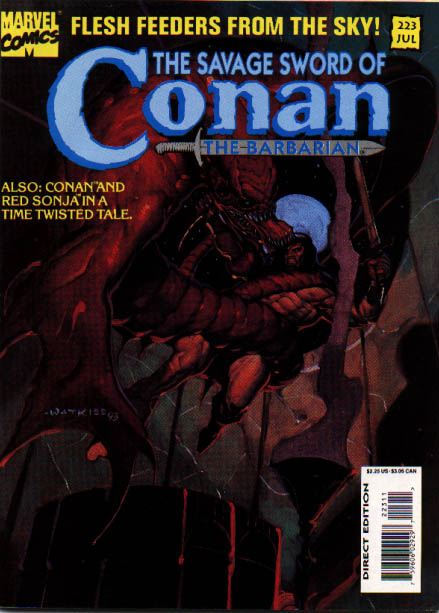 Savage Sword of Conan 223 - Blue Moon - Red Sonja - Flesh Feeders - Blood - Red Rock