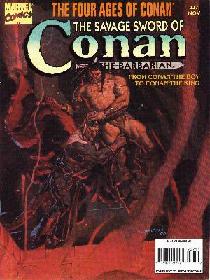 Savage Sword of Conan 227 - The Barbarian - From Conan The Boy To Conan The King - Fight - Violence - Marvel Comics