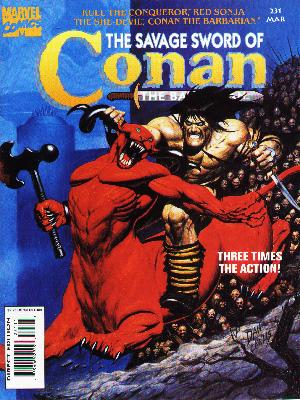 Savage Sword of Conan 231 - Three Times The Action - Marvel Comics - Muscles - Axe - Red