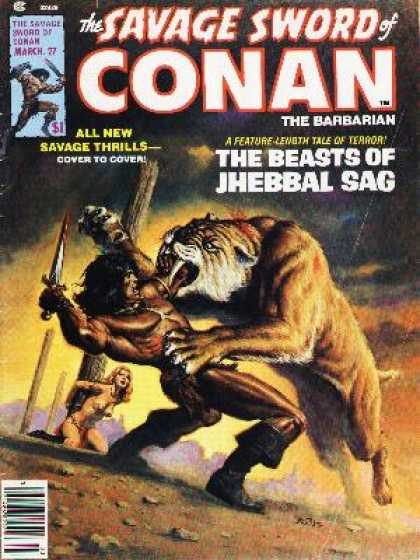 Savage Sword of Conan 27 - Hero Saves The Day - Deadly Sabretooth Action - Kill The Cat Save The Girl - Killer Cat - Beautiful Maiden