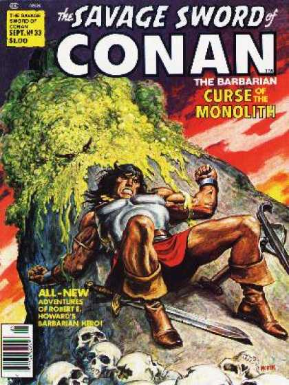 Savage Sword of Conan 33 - Curse Of The Monolith - Barbarian - Skulls - Sword - Robert E Howard