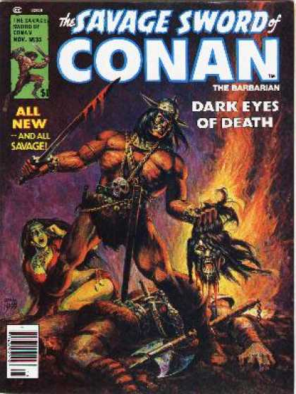 Savage Sword of Conan 35 - Barbarian - Sword - Skull - Beheaded - Afraid - Ernie Chan