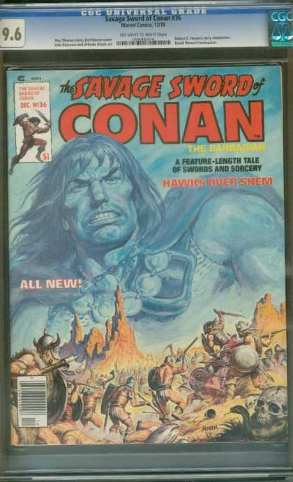 Savage Sword of Conan 36 - Hawks Over Shem - Swords And Sorcery - Skull - Battle - All New