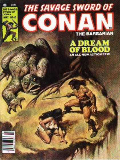 Savage Sword of Conan 40 - Sword - Barbarian - Blood - Girl - Monster - John Buscema