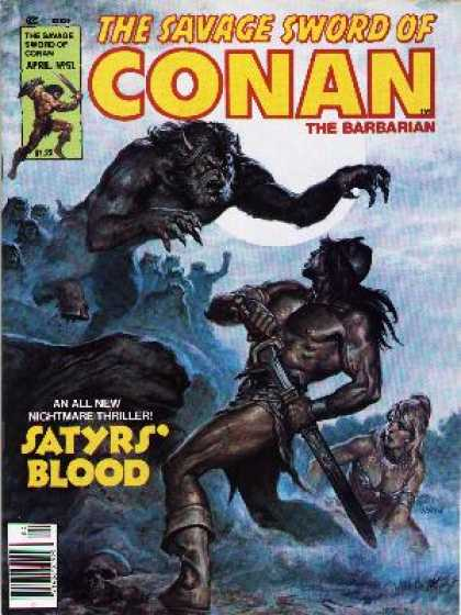 Savage Sword of Conan 51 - Sword - Conan - Beast - Babarian - Satyrs