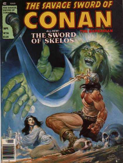 Savage Sword of Conan 56 - Sword - Horned Helmet - Barbarian - Green Man - Lady - Nestor Redondo