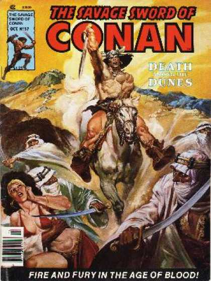 Savage Sword of Conan 57 - Man In Horned Helmet - Shieks With Swords - Woman In Bikini Being Held Captive - Sand Dunes - Large White Horse - Nestor Redondo