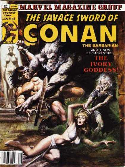 Savage Sword of Conan 60 - Barbarian - Sword - Monster - Old Lady - Blonde