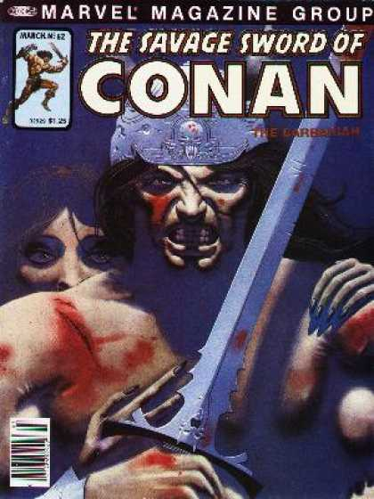Savage Sword of Conan 62 - Marvel Magazine Group - The Barbarian - Sword - Wounded Man - Female Face