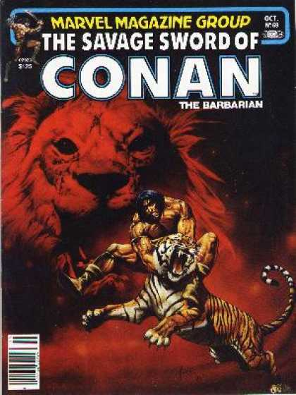 Savage Sword of Conan 69 - Barbarian - Man Verses Tiger - Warrior - Beast - Fignter - Joe Jusko