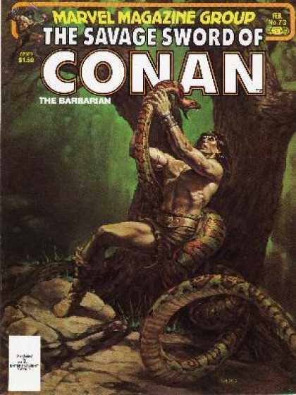 Savage Sword of Conan 73 - Huge Snake - Tree - Fighting - Barbarian - Rocks