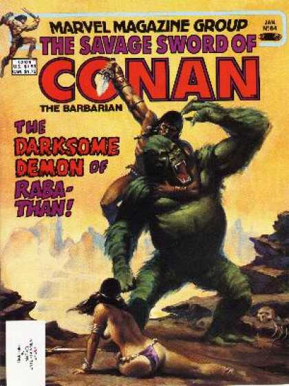 Savage Sword of Conan 84 - Marvel Magazine Group - Jan - The Darksome Demon Of Rab-than - Conan - Headlock
