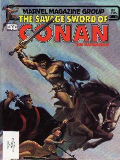 Savage Sword of Conan 85 - Conan Vs Robed Villain - Dagger Vs Sword - Rescue Slave Woman - Conan On Horseback - Chained Woman