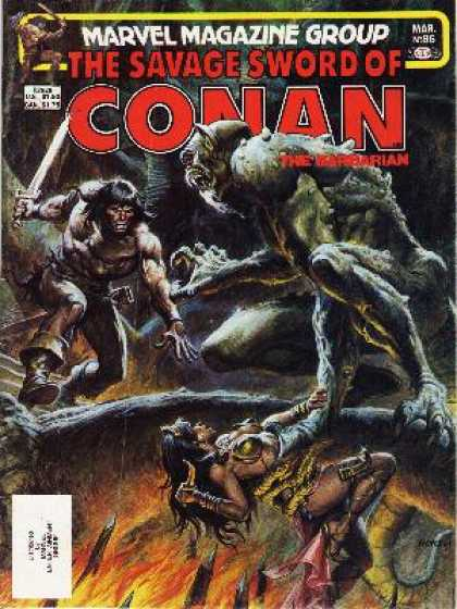 Savage Sword of Conan 86 - Marvel - Goblin - Sword - Fire - Woman