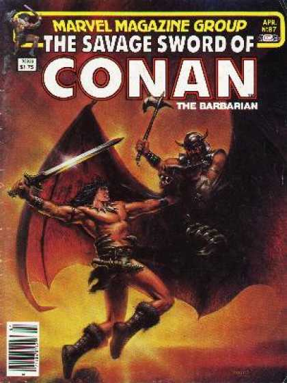 Savage Sword of Conan 87 - Axe - Marvel - Battle - Wings - The Barbarian
