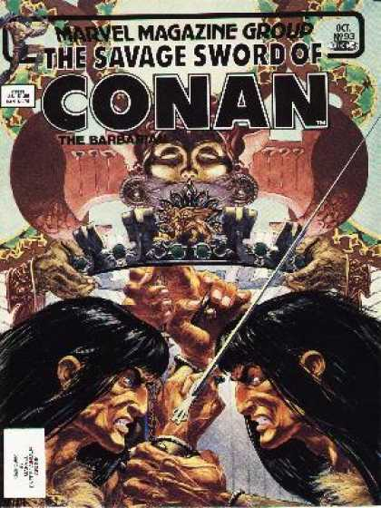Savage Sword of Conan 93 - The Barbarian - Oct 1993 - Sword - Crown - Fighting - Michael Kaluta