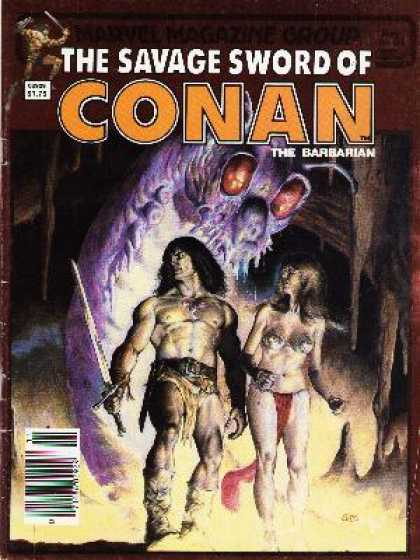 Savage Sword of Conan 94 - Sword - Cave - Black Hair - Purple Monster - Fur Boots