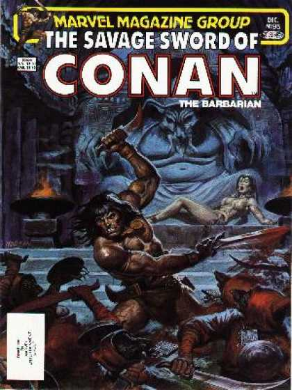 Savage Sword of Conan 95 - Barbarian - Fire - Fighting Weapons - Bloody Scene - Lady In Distress