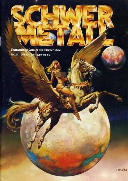 Schwermetall 25 - Pegasus - Scantily Clad Woman - Sword - Moon - Planet