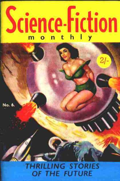 A bikini clad woman kneels inside a bubble-like rocket, her hands bound