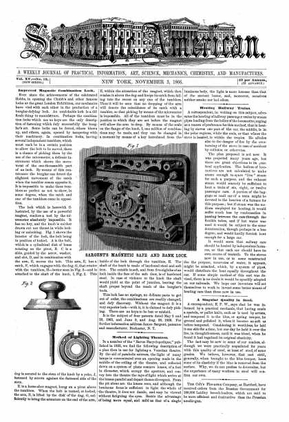 Scientific American - Nov 3, 1866 (vol. 15, #19)