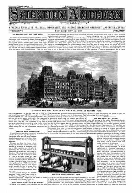 Scientific American - May 25, 1867 (vol. 16, #21)