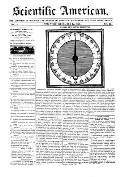Scientific American - December 12, 1846 (vol. 2, #12)