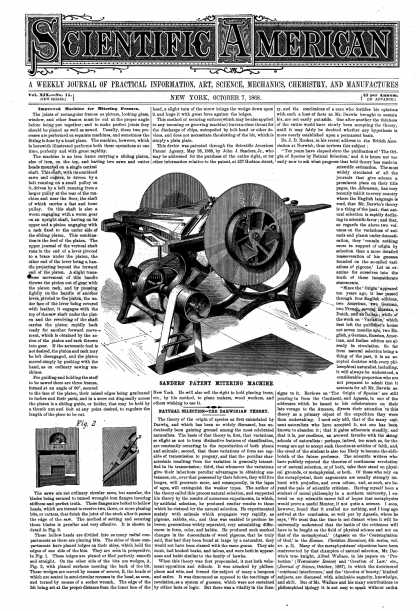 Scientific American - Oct 7, 1868 (vol. 19, #15)