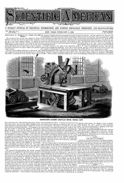 Scientific American - Feb 6, 1869 (vol. 20, #6)