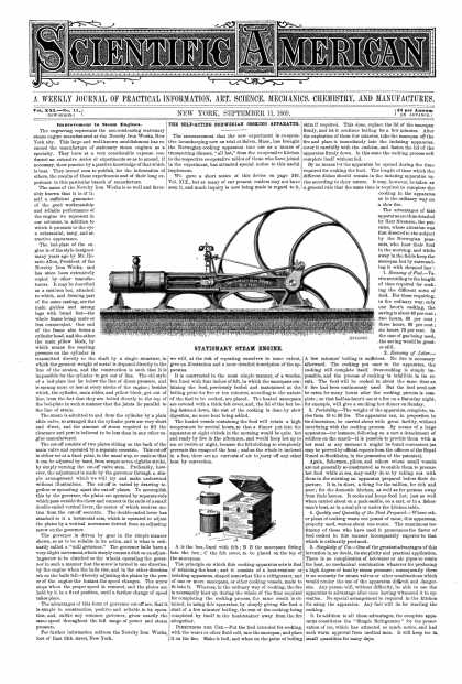 Scientific American - Sept 11, 1869 (vol. 21, #11)