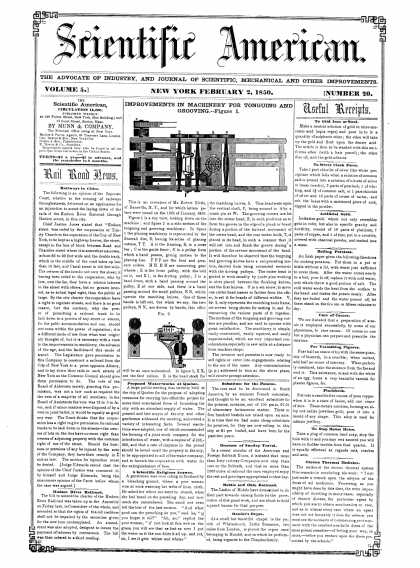 Scientific American - February 2, 1850 (vol. 5, #20)
