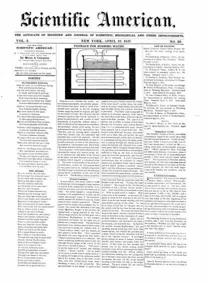 Scientific American - April 10, 1847 (vol. 2, #29)