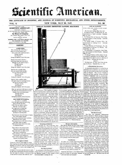 Scientific American - May 29, 1847 (vol. 2, #36)