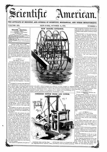 Scientific American - Oct 11, 1856 (vol. 12, #5)