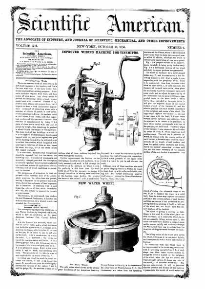 Scientific American - Oct 18, 1856 (vol. 12, #6)
