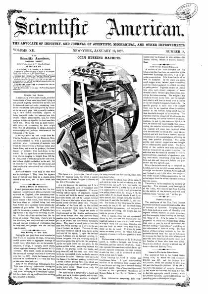 Scientific American - Jan 10, 1857 (vol. 12, #18)