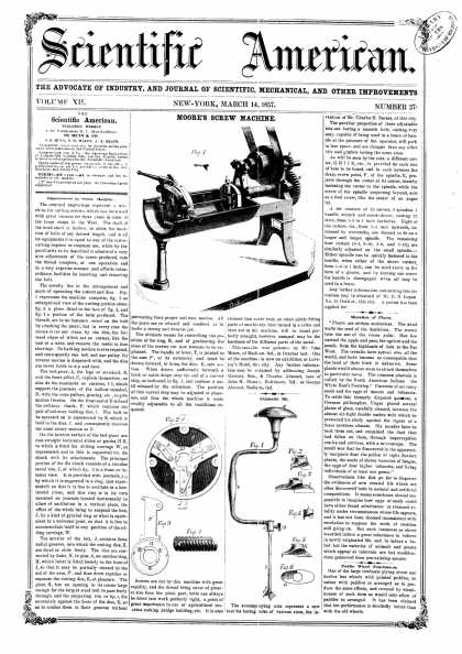 Scientific American - Mar 14, 1857 (vol. 12, #27)