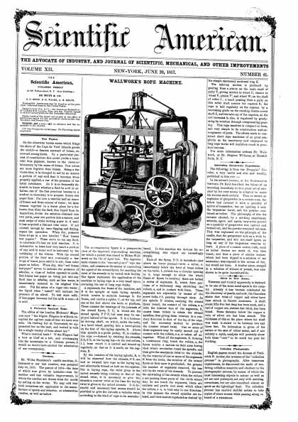 Scientific American - June 20, 1857 (vol. 12, #41)