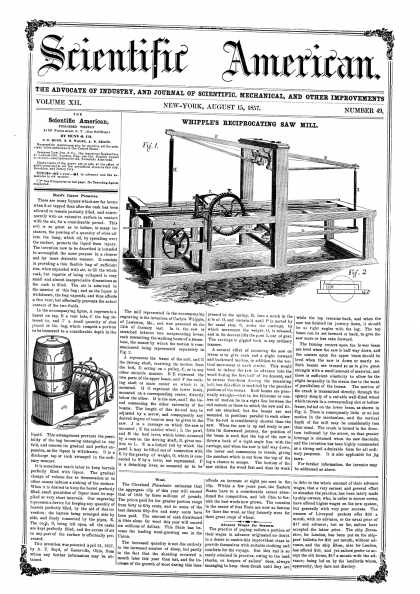 Scientific American - Aug 15, 1857 (vol. 12, #49)