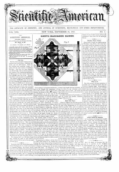 Scientific American - Sept 26, 1857 (vol. 13, #3)